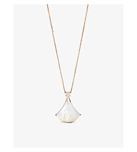 BVLGARI 圣母的梦18kt 粉红色金色与珍珠的母亲和铺设钻石项链