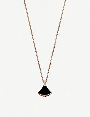 BVLGARI Diva 18ct pink-gold and onyx necklace