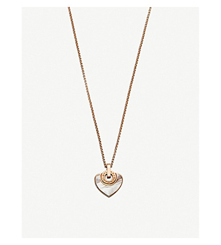 BVLGARI BVLGARI-BVLGARI Cuore 18kt pink-gold and pearl necklace