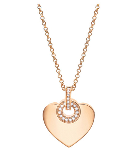 BVLGARI BVLGARI∙BVLGARI Cuore 18kt pink-gold and pavé diamond necklace