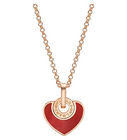 BVLGARI Bvlgari-Bvlgari Cuore 18kt pink-gold and carnelian necklace