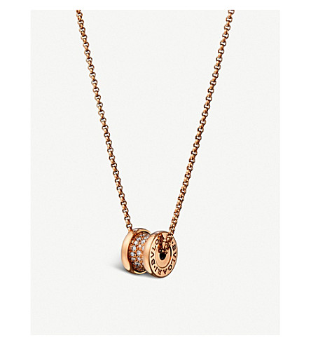BVLGARI B.zero1 mini 18kt pink-gold and diamond necklace