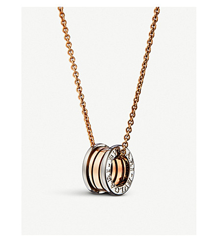 BVLGARI B.zero1 18kt pink and white-gold necklace