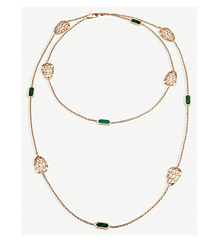 BVLGARI Serpenti Seduttori 18kt pink-gold and malachite necklace
