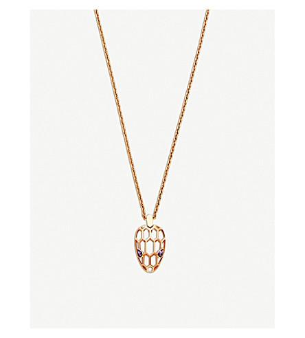 BVLGARI Serpenti Seduttori 18kt 粉红色金色, 孔雀石和钻石项链