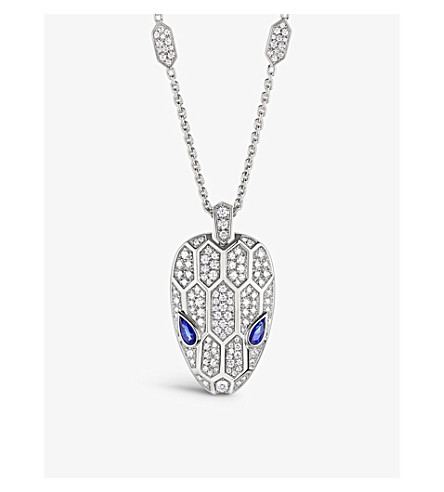 BVLGARI Serpenti 18kt white-gold, sapphire and diamond necklace