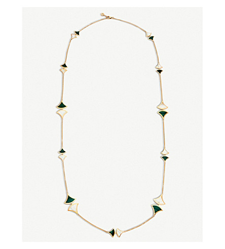 BVLGARI Divas' Dream 18kt rose-gold, malachite and mother-of-pearl necklace