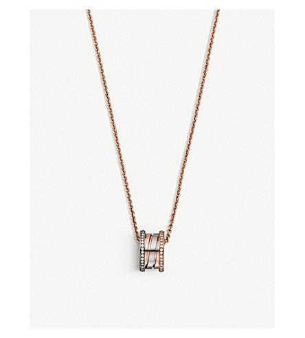 BVLGARI B.Zero1 18ct rose, white-gold and diamond necklace