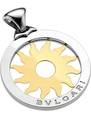 BVLGARI Tondo 18ct yellow-gold and steel sun pendant