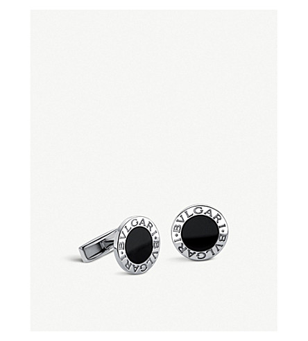 BVLGARI Sterling silver and black-onyx cufflinks