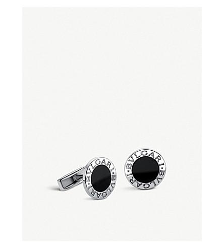 BVLGARI 纯银和黑玛瑙袖扣