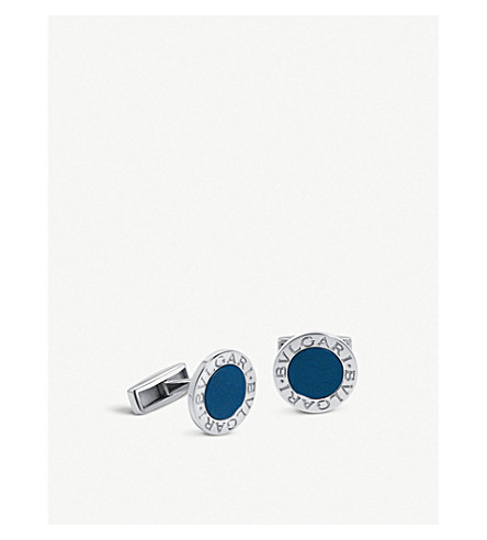 BVLGARI BVLGARI-BVLGARI sterling silver and lapis cufflinks