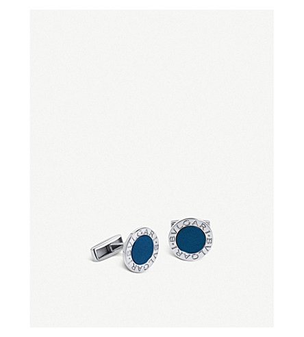 BVLGARI Sterling silver and lapis cufflinks