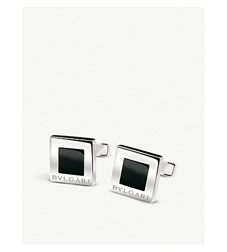 BVLGARI Quadrato Gifts sterling silver and black enamel cufflinks
