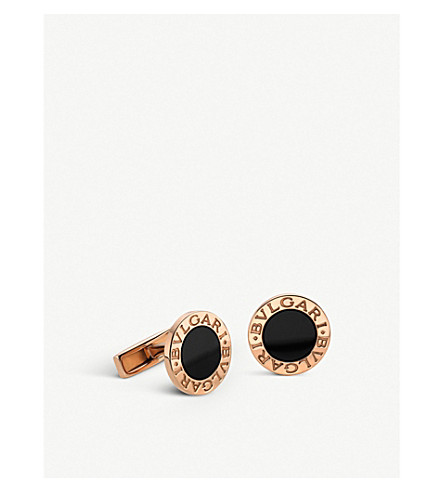 BVLGARI BVLGARI-BVLGARI pink-gold and black onyx cufflinks