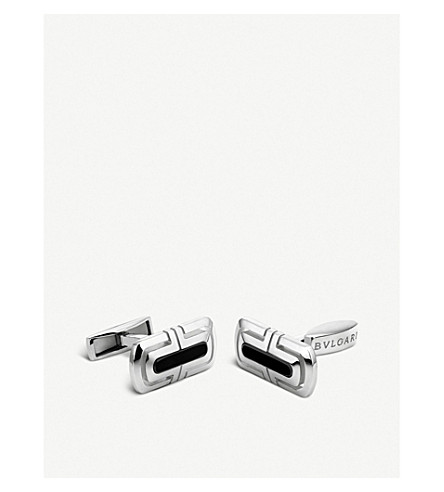 BVLGARI Parentesi sterling silver and black onyx cufflinks