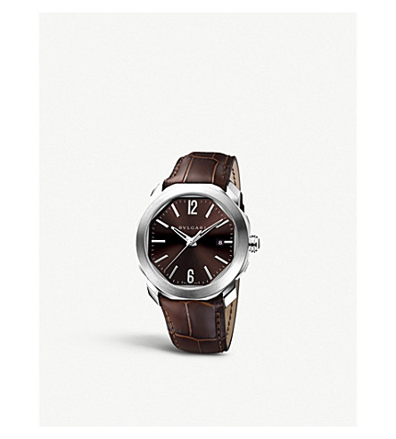BVLGARI Octo stainless steel and leather watch