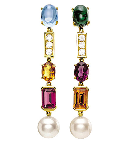 BVLGARI Coriandoli allegra 18kt yellow-gold, gem, pearl and diamond earrings