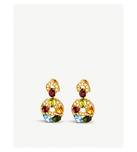 BVLGARI Concentrica colour 18kt yellow-gold, gem stone and diamond earrings