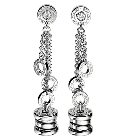 BVLGARI B.zero1 mini 18kt white-gold pendant earrings