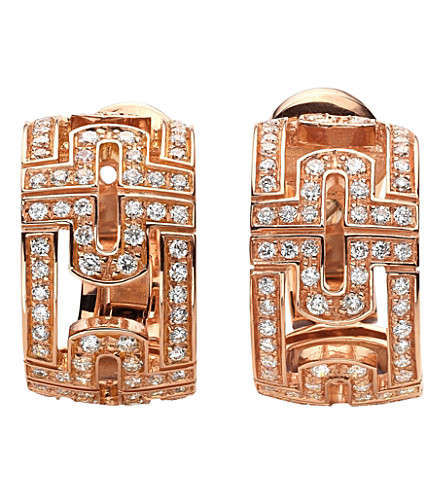 BVLGARI Parentesi 18ct pink-gold and diamond stud earrings