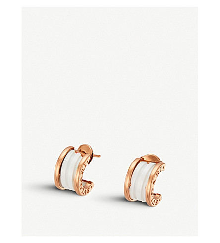 BVLGARI B.zero1 18kt pink-gold and ceramic earrings