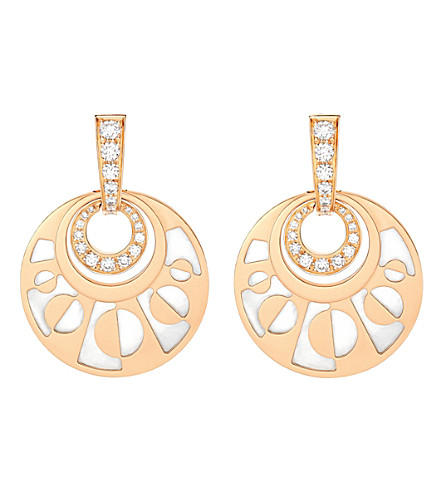BVLGARI Intarsio mediterranean eden 18ct pink-gold pearl and diamond earring