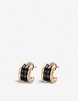 BVLGARI B.zero1 18ct pink-gold earrings with black ceramic