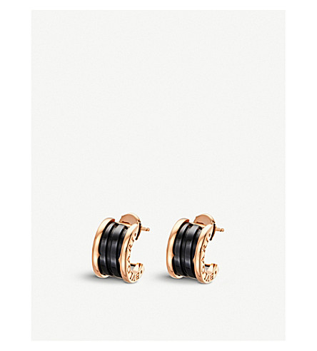 BVLGARI B.zero1 18kt pink-gold earrings with black ceramic