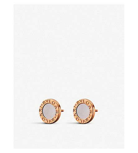 BVLGARI BVLGARI-BVLGARI small 18kt pink-gold stud earrings with mother of pearl