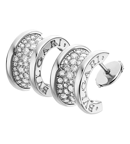 BVLGARI B.zero1 18kt white-gold and diamond earrings