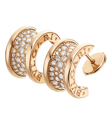 BVLGARI B.zero1 18ct pink-gold and diamond earrings