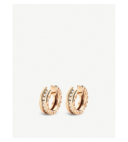 BVLGARI B.zero1 18kt pink-gold and diamond small hoop earrings