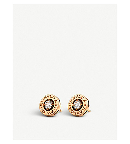 BVLGARI BVLGARI-BVLGARI 18ct pink-gold stud earrings with diamonds