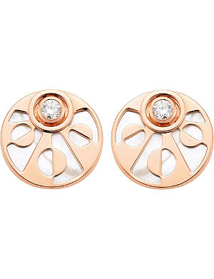BVLGARI Intarsio 18ct pink-gold stud earrings with mother of pearl and diamonds