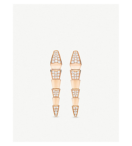 BVLGARI Serpenti 18kt pink-gold earrings with full pavé diamonds