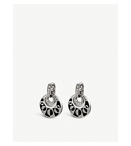 BVLGARI Intarsio 18kt white-gold earrings with black onyx and pavé diamonds