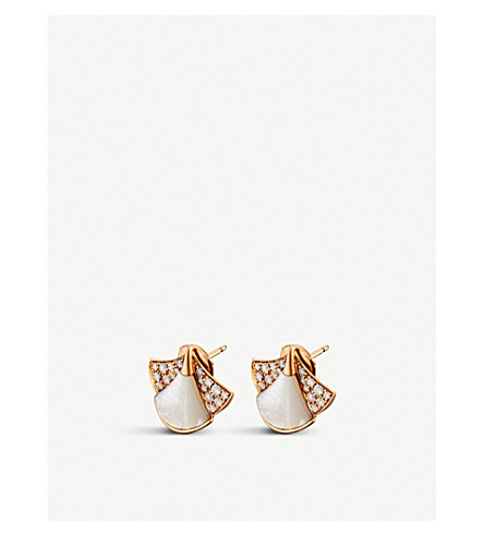 BVLGARI Divas' Dream 18kt pink-gold, pearl and diamond earrings