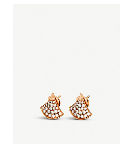 BVLGARI Divas' Dream 18kt rose-gold and pave diamond earrings
