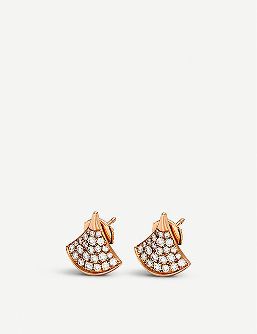 bvlgari divasu0027 dream 18kt rosegold and pave diamond earrings quick view wish list