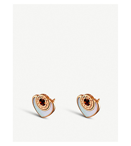 BVLGARI Bulgari Bulgari Cuore 18ct pink-gold stud earrings