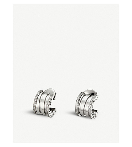 BVLGARI B.zero1 18ct white gold and diamond earrings