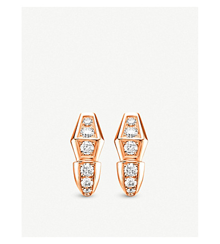BVLGARI Serpenti 18kt rose-gold and diamond earrings