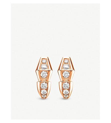BVLGARI Serpenti 18kt 玫瑰金和钻石耳环