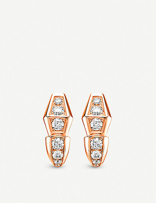 bvlgari serpenti 18kt rosegold and diamond earrings quick view wish list