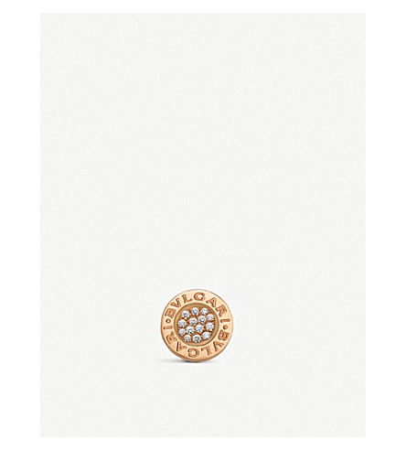 BVLGARI Bvlgari Bvlgari 18ct rose-gold and pavé diamond earring