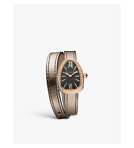 BVLGARI Serpenti 18ct pink-gold and diamond watch