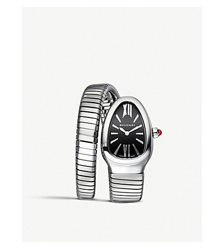 BVLGARI Serpenti Tubogas steel, opaline and rubellite watch