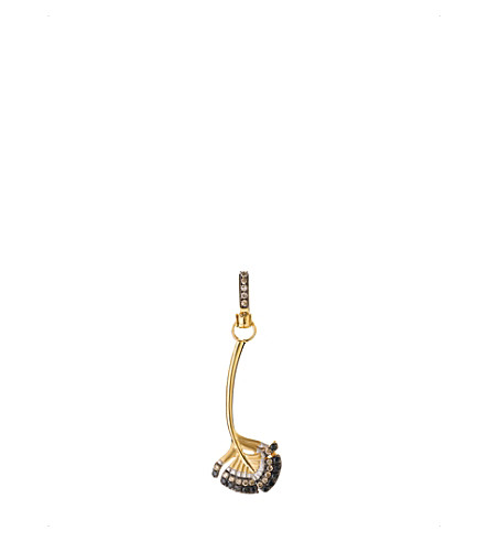 ANNOUSHKA Mythology 18ct gold and diamond Falcon feather charm