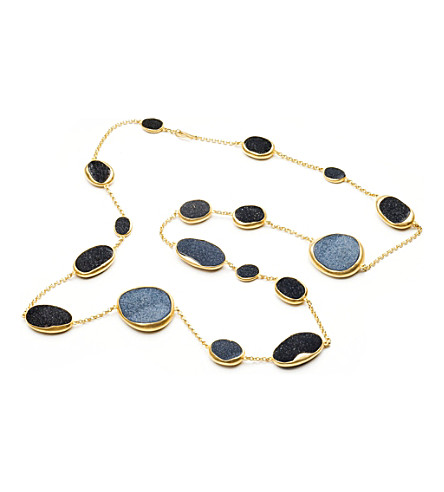 ANNOUSHKA Drusy 18ct yellow-gold and onyx long necklace